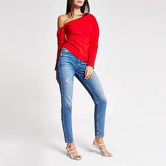 River Island Red asymmetric cold shoulder bardot top