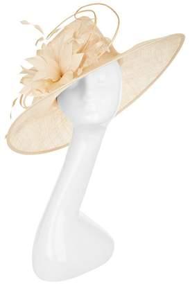 Peter Bettley Feather Flower Trim Wide-Brim Hat
