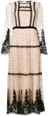 Ermanno Ermanno point d'esprit and lace maxi dress