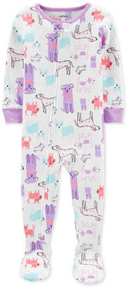 Carter's Carter Baby Girls 1-Pc. Dog-Print Footed Pajamas