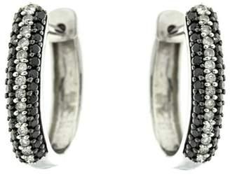 Sterling Silver White and Black Diamond Hoop Earrings