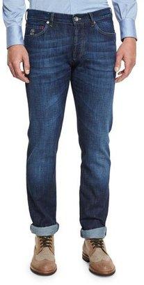 Brunello Cucinelli Slim-Fit Denim Jeans, Dark Blue $595 thestylecure.com
