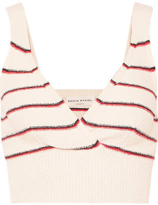 Sonia Rykiel Cropped Striped Cotton-blend Top - Cream