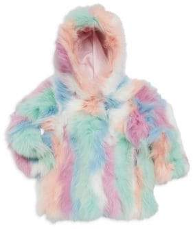 Adrienne Landau Little Girl's& Girl's Fox Fur Hooded Jacket