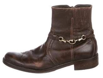 Valentino Distressed Leather Ankle Boots