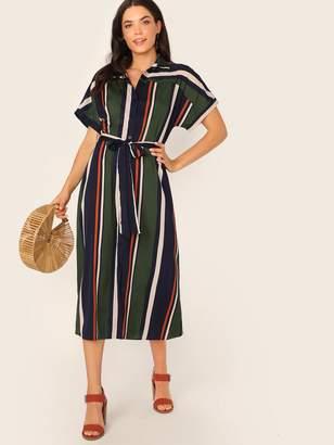 Shein Striped Shirt Dress With Belt
