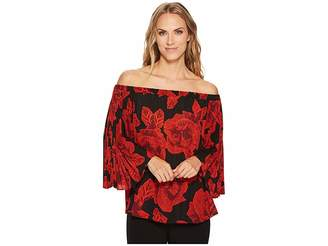Vince Camuto Off Shoulder Pleated Wood Block Floral Blouse Women's Blouse