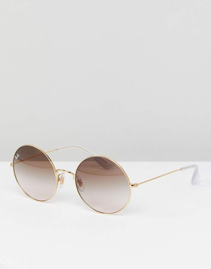 Ray-Ban 0RB3592 Round Sunglasses In Gold 55mm