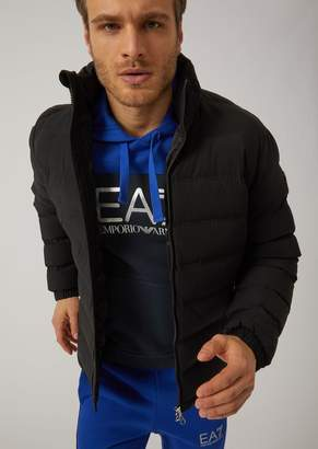 Emporio Armani Ea7 Padded Stretch Fabric Down Jacket With Stowaway Hood