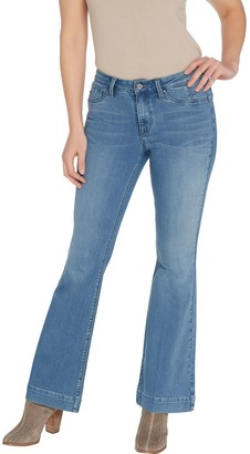Fly London Laurie Felt Petite Silky Denim High-Heel Bell Zip Jeans