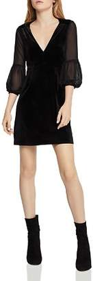 BCBGeneration Chiffon-Sleeve Velvet Dress