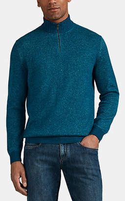 Loro Piana Men's Cashmere Half-Zip Sweater - Blue