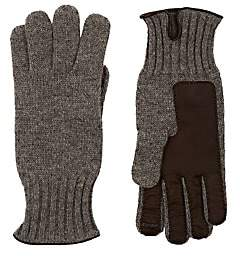 Barneys New York MEN'S LEATHER-ACCENTED CASHMERE GLOVES-GRAY