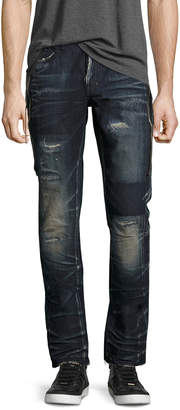 PRPS Demon Dark Wash Slim Jeans with Zipper, Fossil
