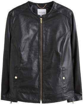 Violeta BY MANGO Textured trims leather jacket