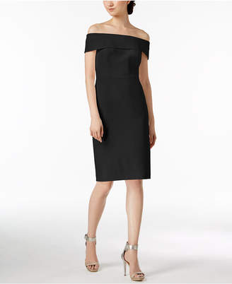 Calvin Klein Off-The-Shoulder Scuba Crepe Dress, Regular & Petite Sizes