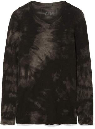ATM Anthony Thomas Melillo Tie-dye Slub Cotton-jersey Top - Black
