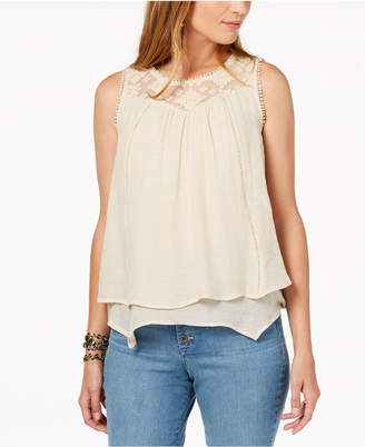 Style&Co. Style & Co Petite Layered-Hem Lace-Trim Top