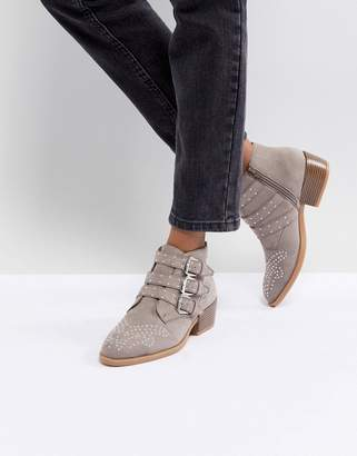 boohoo Studded Buckle Ankle Boot