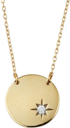 Adina Tiny Diamond Circle Stamp Necklace