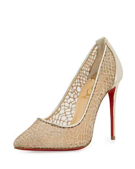 Christian Louboutin  Christian Louboutin Follies Metallic Lace Red Sole Pump, Silver