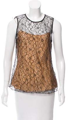 Oscar de la Renta Sleeveless Lace Top