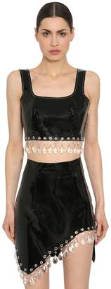 16Arlington Patent Leather Crop Top W/ Crystals