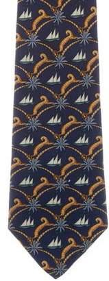 Salvatore Ferragamo Silk Nautical Print Tie