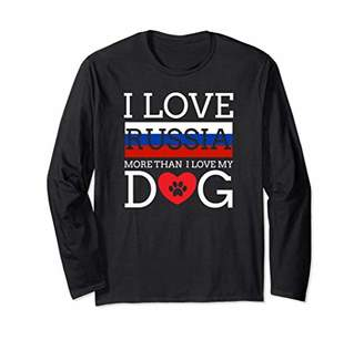 Cool Long Sleeve Russian Tshirt With Dog Love Motive