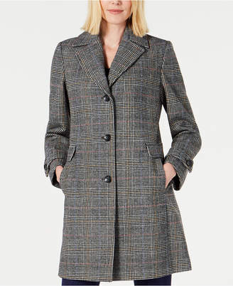Vince Camuto Single-Breasted Plaid Coat