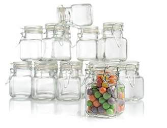 Stock Your Home 3 Ounce Airtight Glass Jar with Leak Proof Rubber Gasket and Hinged Lid for Home and Kitchen