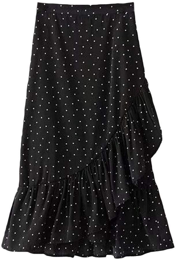 'Stephanie' Dotted Wrap Tied Ruffle Midi Skirt