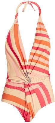 Katie Eary Geo-print twist-front swimsuit