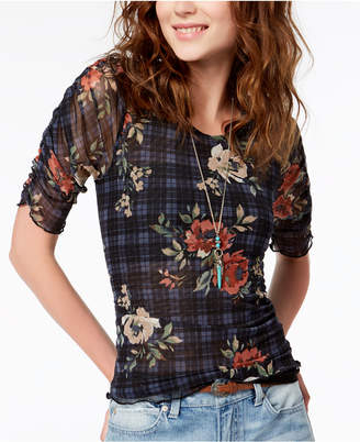 American Rag Juniors' Ruched Mixed-Print Top, Created for Macy's