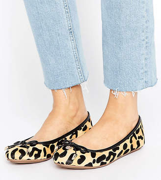 Dune London Dune Wide Fit Wide Fit Leopard Print Ballet Flat Shoes