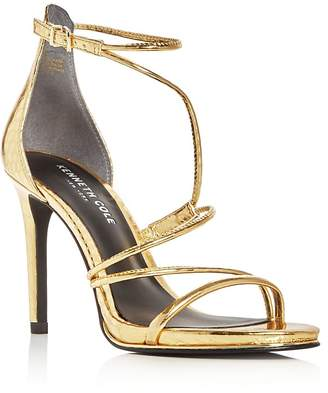 Kenneth Cole Bryanna Metallic Embossed Strappy High Heel Sandals $150 thestylecure.com