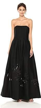 Halston Women's Strapless Seamed Structure Gown, Black/Cream