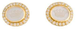 Mother of Pearl 18K Doublet & Diamond Clip-On Earrings