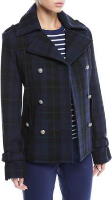 Michael Kors Double-Breasted Tartan Wool Pea Coat