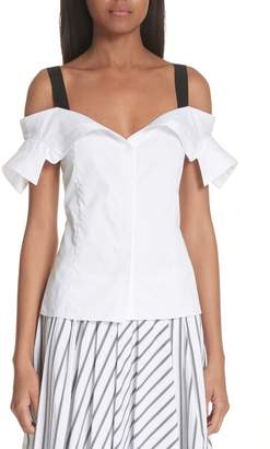 Jason Wu Grosgrain Trim Off the Shoulder Top