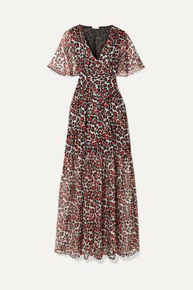 Eywasouls Malibu Maria Leopard-print Chiffon Maxi Dress - Red