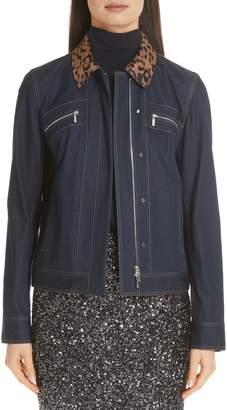 Lafayette 148 New York Kesha Primo Denim Jacket with Print Genuine Calf Hair Collar