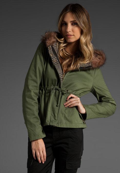 BB Dakota Bradley Reversible Faux Fur Hooded Jacket