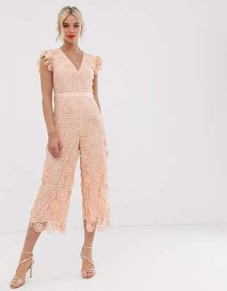 b82b6afd04 Miss Selfridge lace jumpsuit in pink