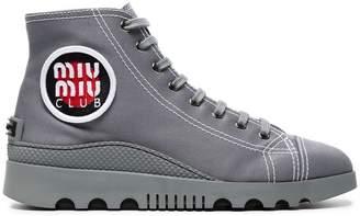 Miu Miu Grey Gabardine High Top Sneakers