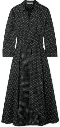 Michael Kors Pleated Polka-dot Cotton-blend Poplin Dress - Black