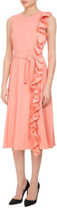 Altuzarra Lavinia Pleated-Trim Midi Dress with Belt, Pink
