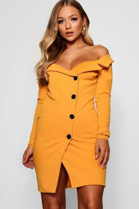 b80afe96ebde boohoo Yellow Off The Shoulder Day Dresses - ShopStyle Canada
