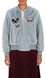 Valentino Women's Embellished Mink Fur Bomber Jacket-Lt. Blue