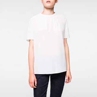 Women's White Silk-Crêpe Top With Ruched Collar $295 thestylecure.com